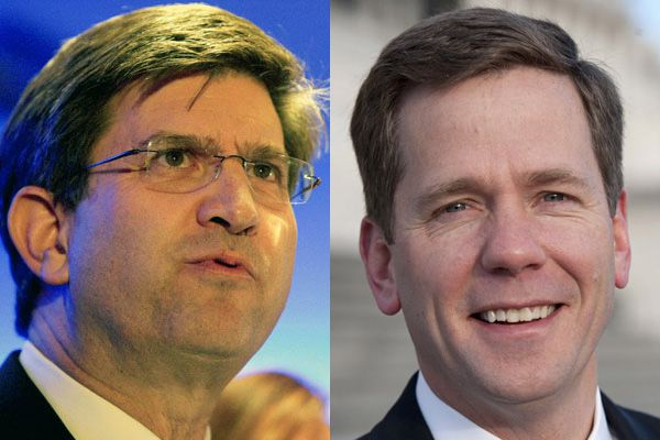 Former Rep. Brad Schneider, D-Ill., (left) is trying to tie Rep. Bob Dold, R-Ill., to Donald Trump, though Dold was among the first Republicans to distance himself from his party's presidential nominee. |  File photos