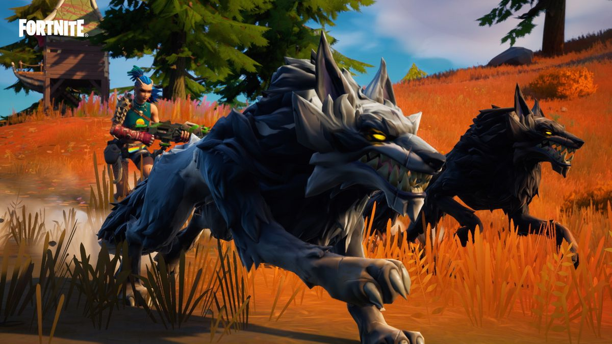 A player in Fortnite season 6 runs with wolves while carrying a Makeshift weapon
