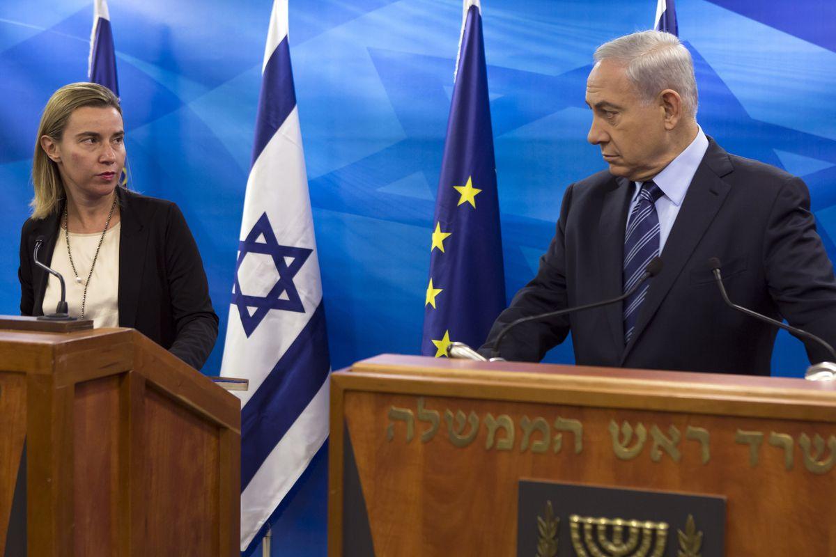 EU Foreign Policy Chief Federica Mogherini with Israeli Prime Minister Benjamin Netanyahu.