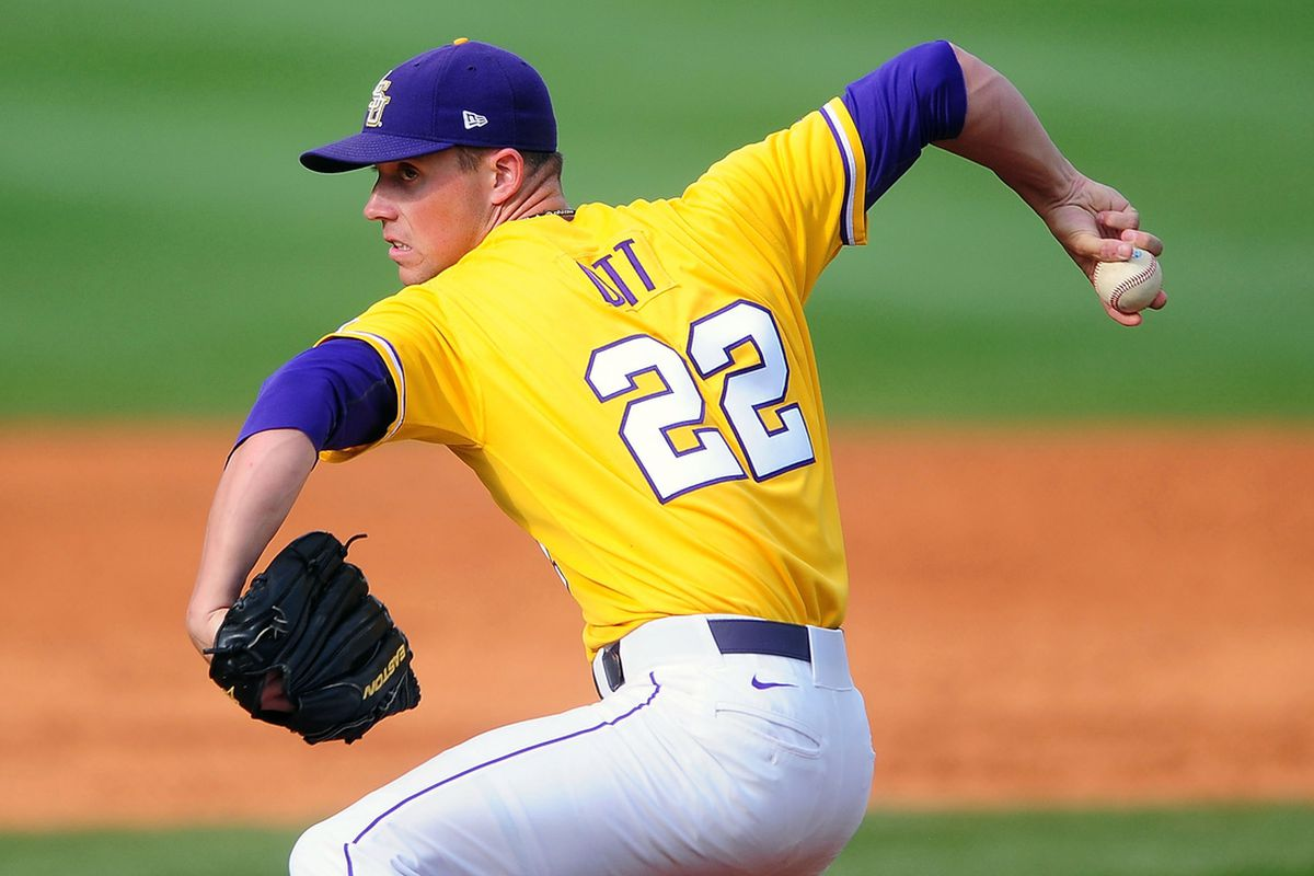 April 24, 2011; Nashville, TN, USA; LSU Tigers pitcher Matty Ott (22) pitches during the eighth inning against the Vanderbilt Commodores at Hawkins Field. Mandatory Credit: Andrew Weber-US PRESSWIRE
