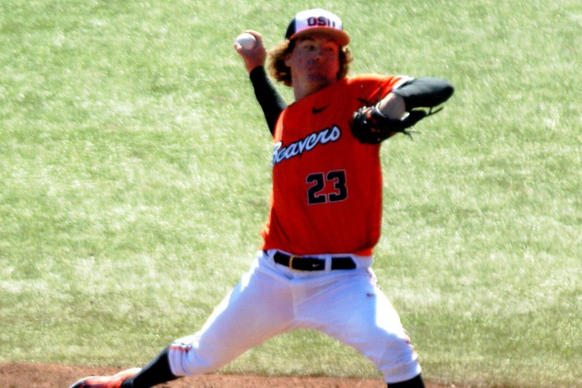 Andrew Moore almost turned in a complete game last Saturday, but instead, got a no decision, and Oregon St. a loss. He'll no doubt want to make amends for that at Arizona this afternoon.