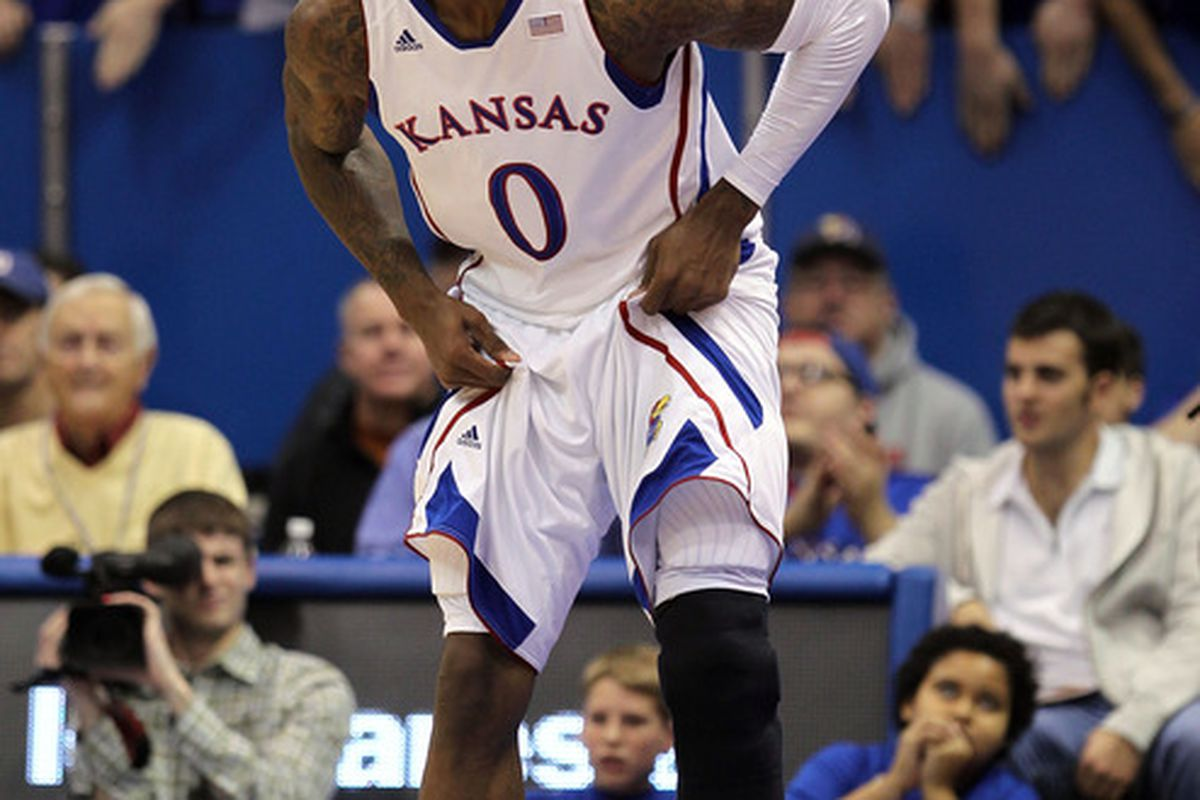LAWRENCE, KS - DECEMBER 06:  Thomas Robinson #0 of the Kansas Jayhawks in action during the game against the Long Beach State 49ers on December 6, 2011 at Allen Fieldhouse in Lawrence, Kansas.  (Photo by Jamie Squire/Getty Images)