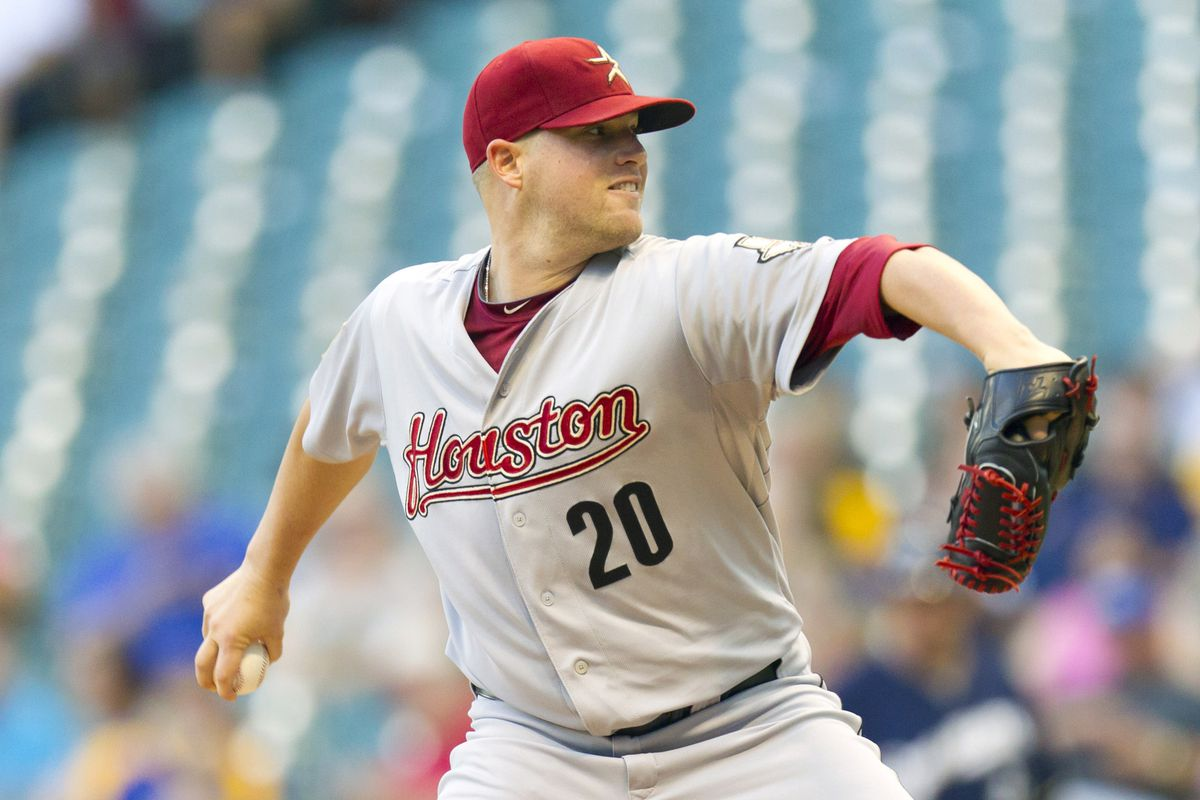 July 30, 2012: Milwaukee, WI, USA;  Houston Astros pitcher Bud Norris (20) throws a pitch during the first inning against the Milwaukee Brewers at Miller Park.  Mandatory Credit: Jeff Hanisch-US PRESSWIRE