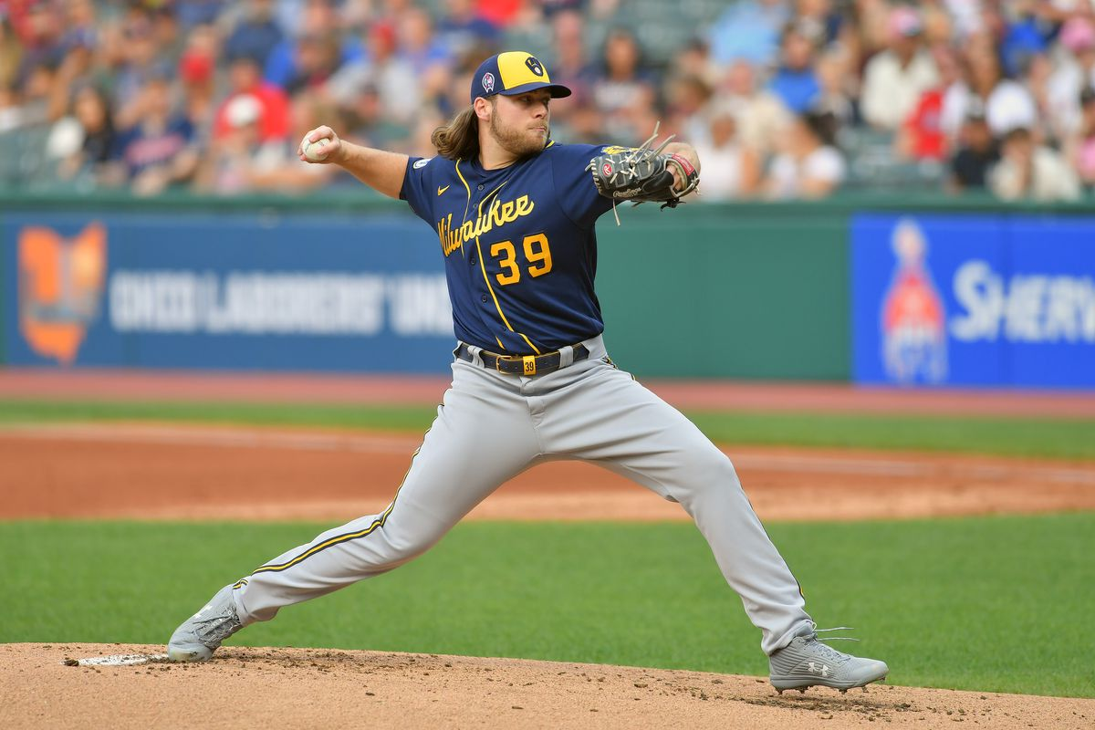 Starting pitcher Corbin Burnes of the Milwaukee Brewers pitches during the first inning against the Cleveland Indians at Progressive Field on September 11, 2021 in Cleveland, Ohio.