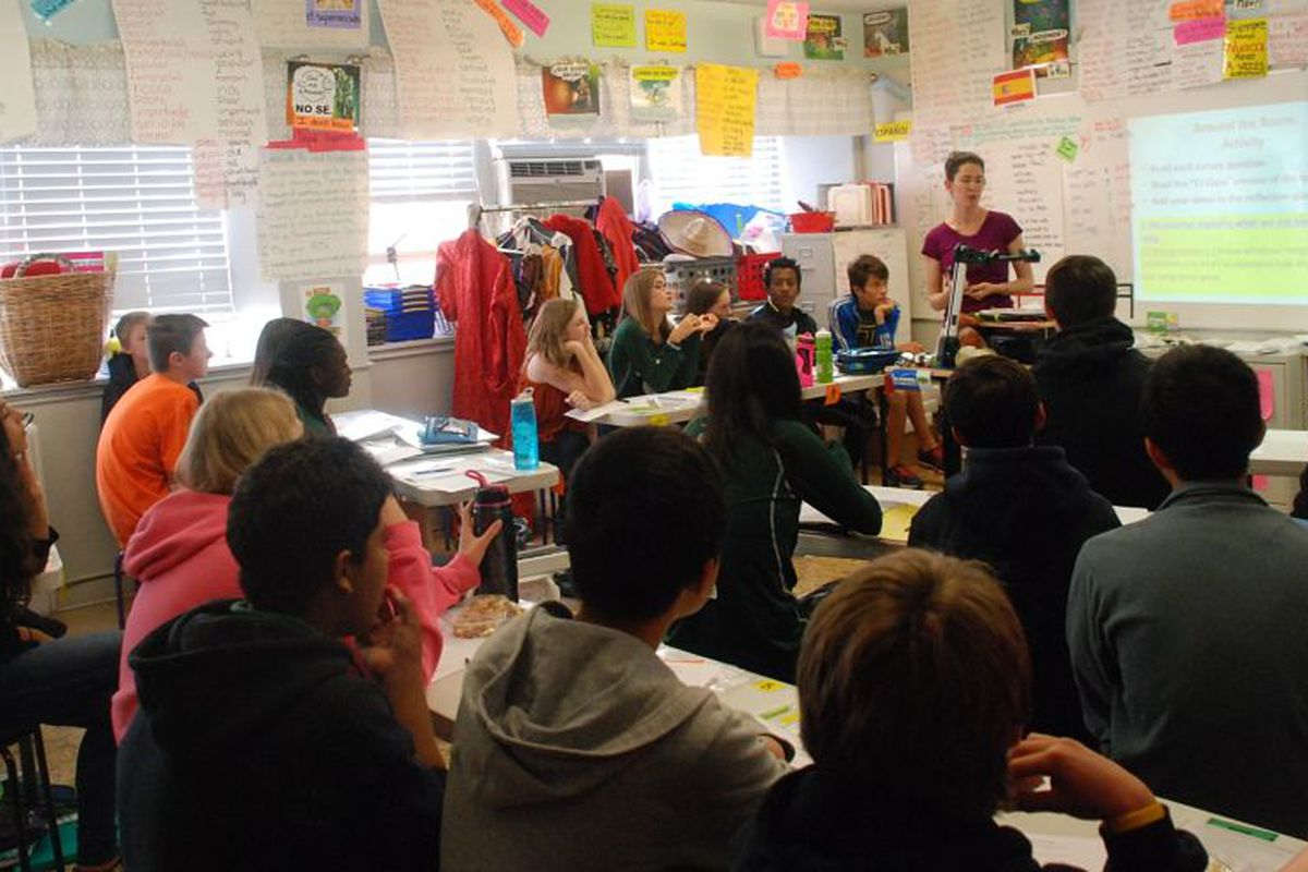 Slavens K-8 converted its teachers' lounge into a middle-school Spanish classroom.