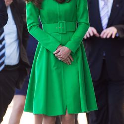 Wearing a vibrant green Catherine Walker coat in Canberra, Australia on April 24th, 2014.