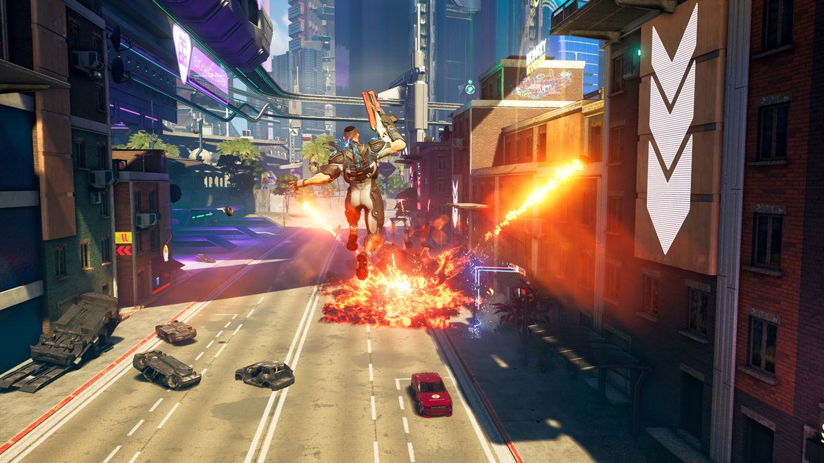 Crackdown 3 - jumping toward an explosion on a street