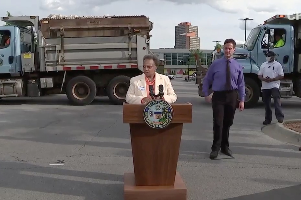 Mayor Lori Lightfoot announces 300 trucks will be deployed over the weekend to protect busy commercial corridors throughout the city.