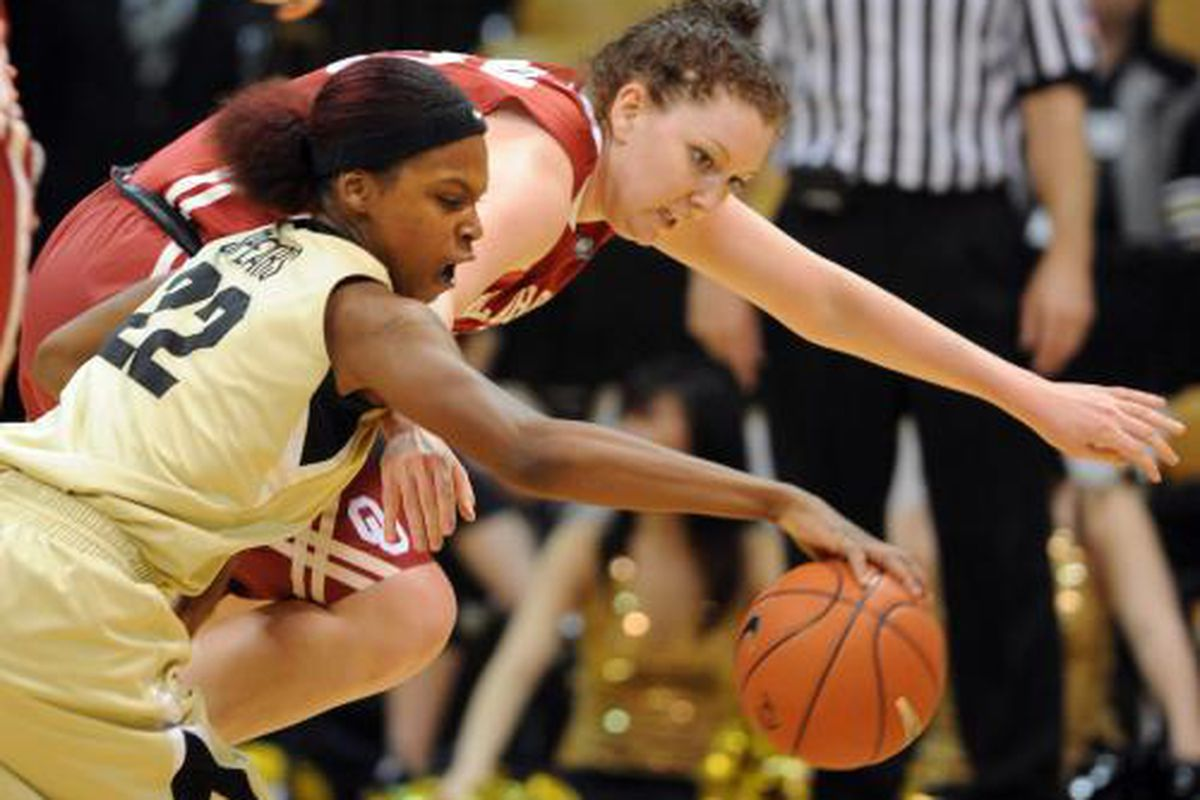 OU's Joanna McFarland fights with CU's Brittany Spears for a loose ball during Wednesday night's Sooner loss.