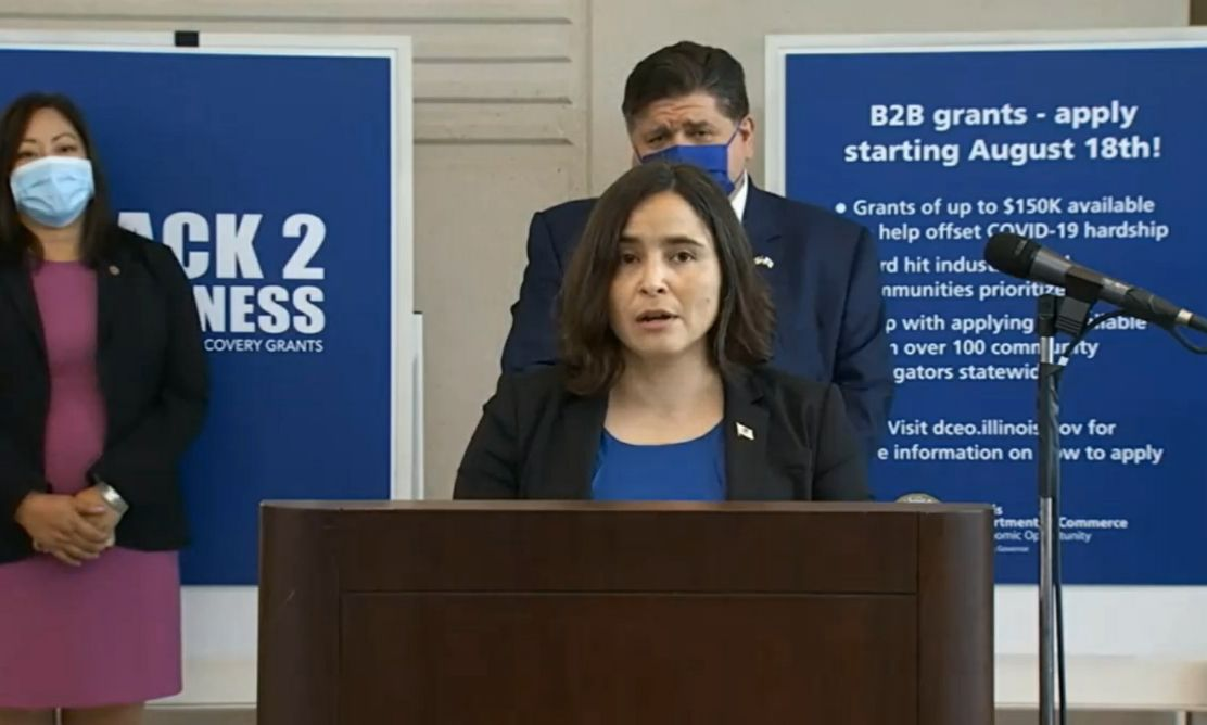 Sylvia Garcia, the acting director of the Illinois Department of Commerce and Economic Opportunity, speaks at a news conference in August.