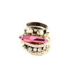 <b>Iosselliani</b> Pink Gold Cubic Stack Set of 5 Rings, <b>$122</b> (from $304)