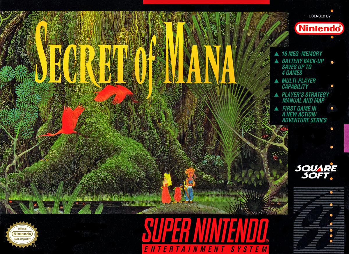 The box art for Secret of Mana on SNES