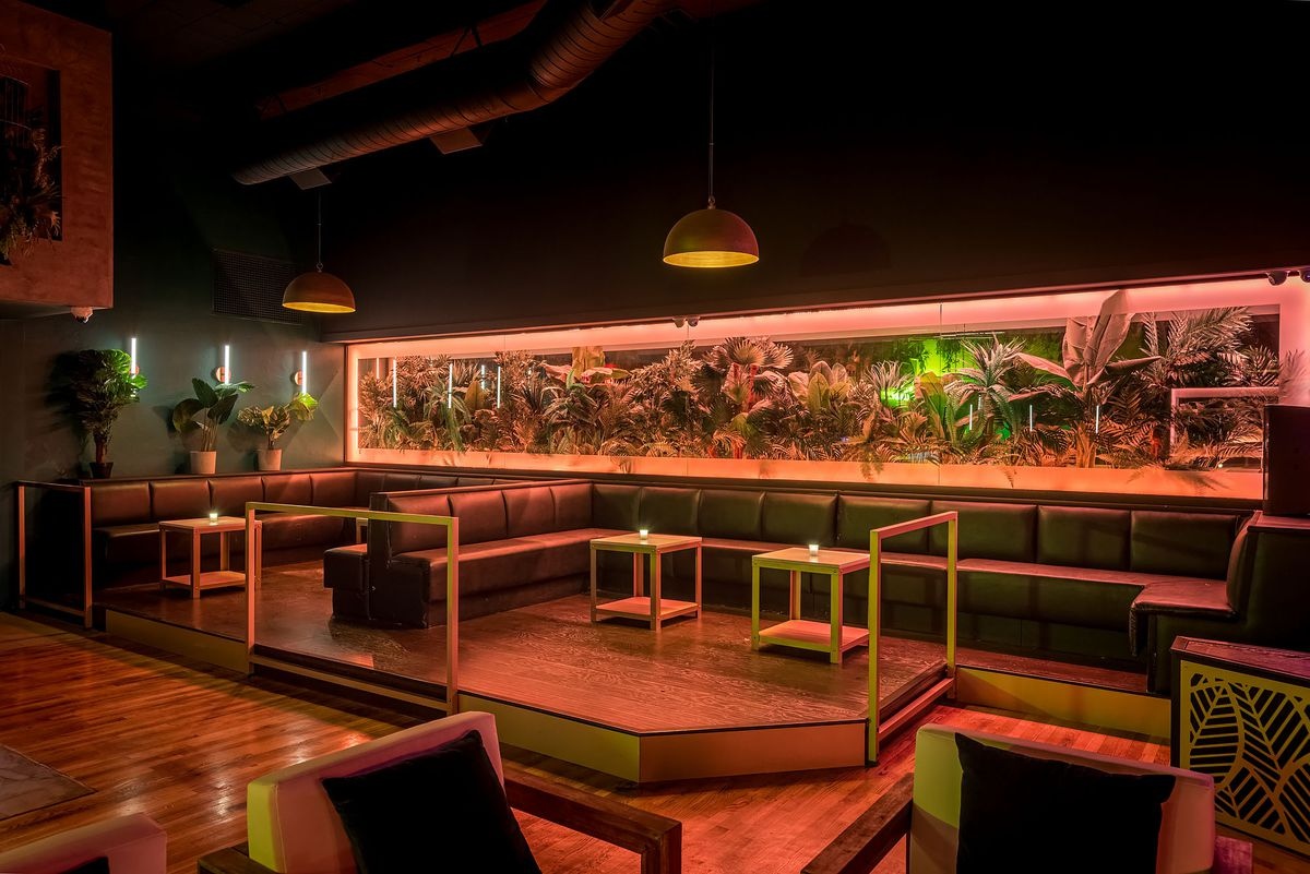 Lounge tables at Canary with interior foliage.