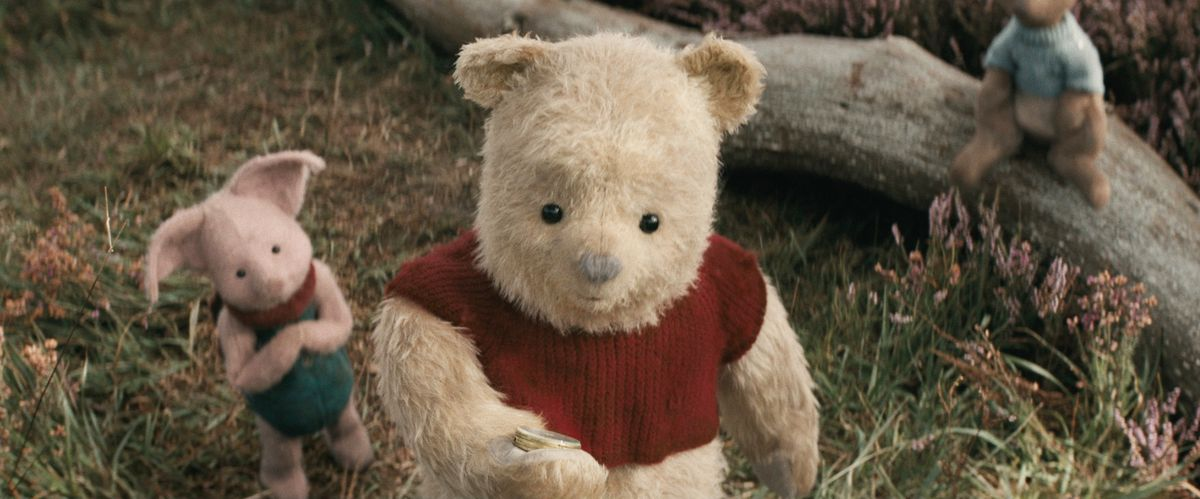 Piglet, Pooh and Roo in Disney's live-action adventure CHRISTOPHER ROBIN.