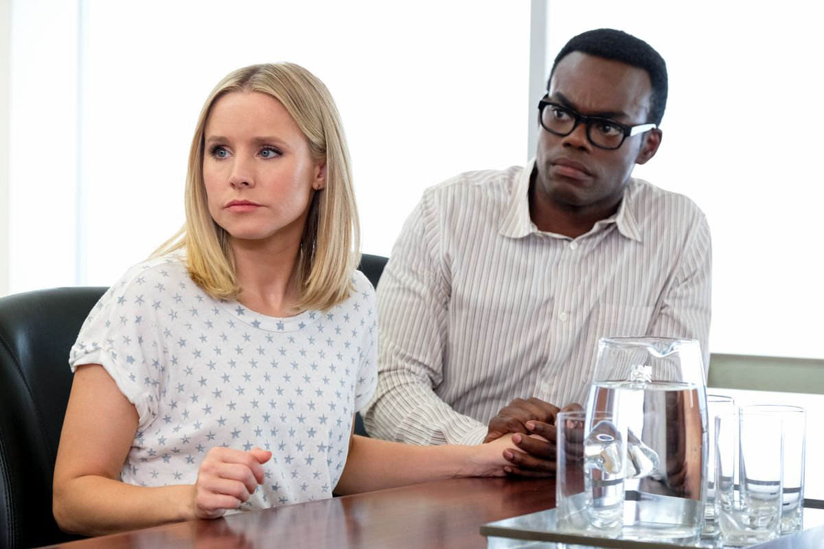 "Kristen Bell as Eleanor and and William Jackson Harper as Chidi in ""The Good Place"" TV show."