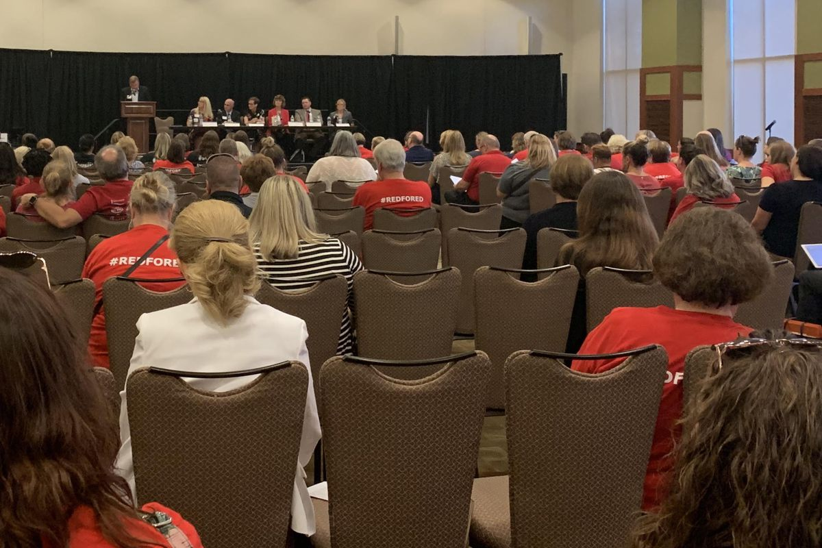 About 100 people showed up to the first public input session of Gov. Eric Holcomb's teacher pay commission Aug. 19 at the Ivy Tech Culinary and Conference Center in Indianapolis. Educators offered suggestions for how to raise teacher pay in Indiana.