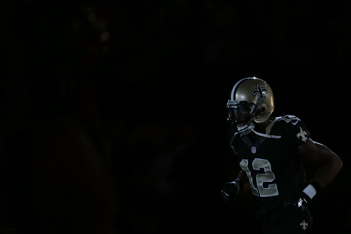 NEW ORLEANS, LA:  New Orleans Saints wide receiver Marques Colston (12) takes the field prior to a game against the Detroit Lions at the  Mercedes-Benz Superdome.