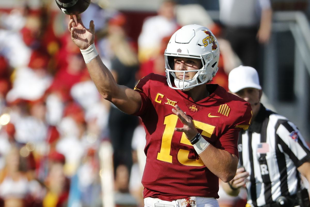 Quarterback Brock Purdy of the Iowa State Cyclones passes the ball in the first half of play at Jack Trice Stadium on September 4, 2021 in Ames, Iowa. The Iowa State Cyclones won 16-10 over the Northern Iowa Panthers.