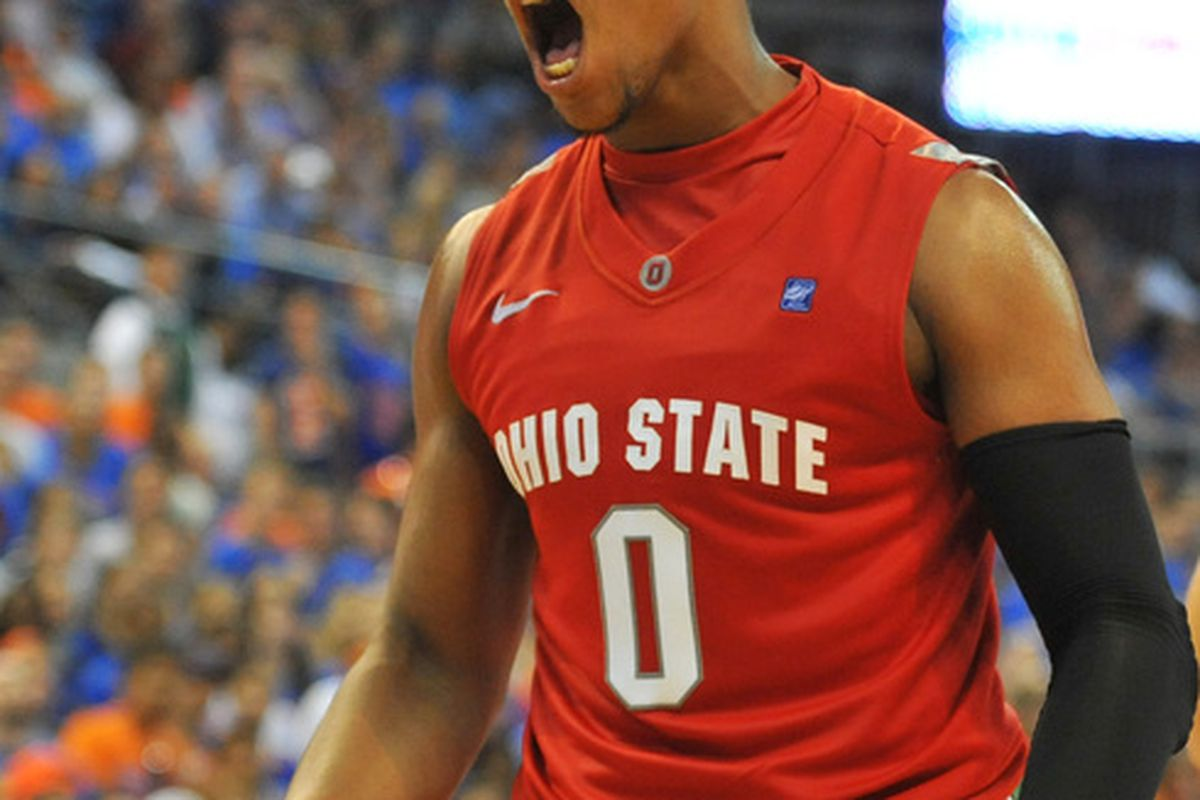 GAINESVILLE FL - NOVEMBER 16: Forward Jared Sullinger #0 of the Ohio State Buckeyes yells after a dunk against the Florida Gators November 16 2010 at the Stephen C. O'Connell Center in Gainesville Florida.  (Photo by Al Messerschmidt/Getty Images)