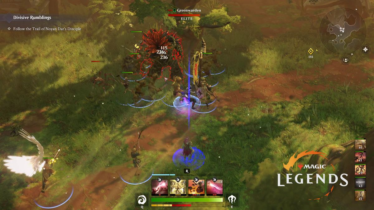 A sample of gameplay in Magic: Legends. There's a set of hotkeys along the bottom of the screen and a mini map in the upper right-hand corner.
