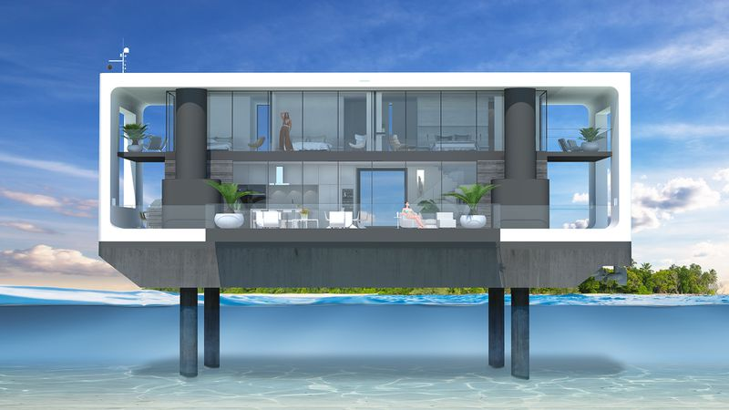 Rendering of floating house on pilings