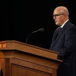 Elder L. Whitney Clayton, General Authority Seventy, speaks during the Sunday afternoon session of the 190th Annual General Conference of The Church of Jesus Christ of Latter-day Saints in Salt Lake City on Sunday, April 5, 2020.