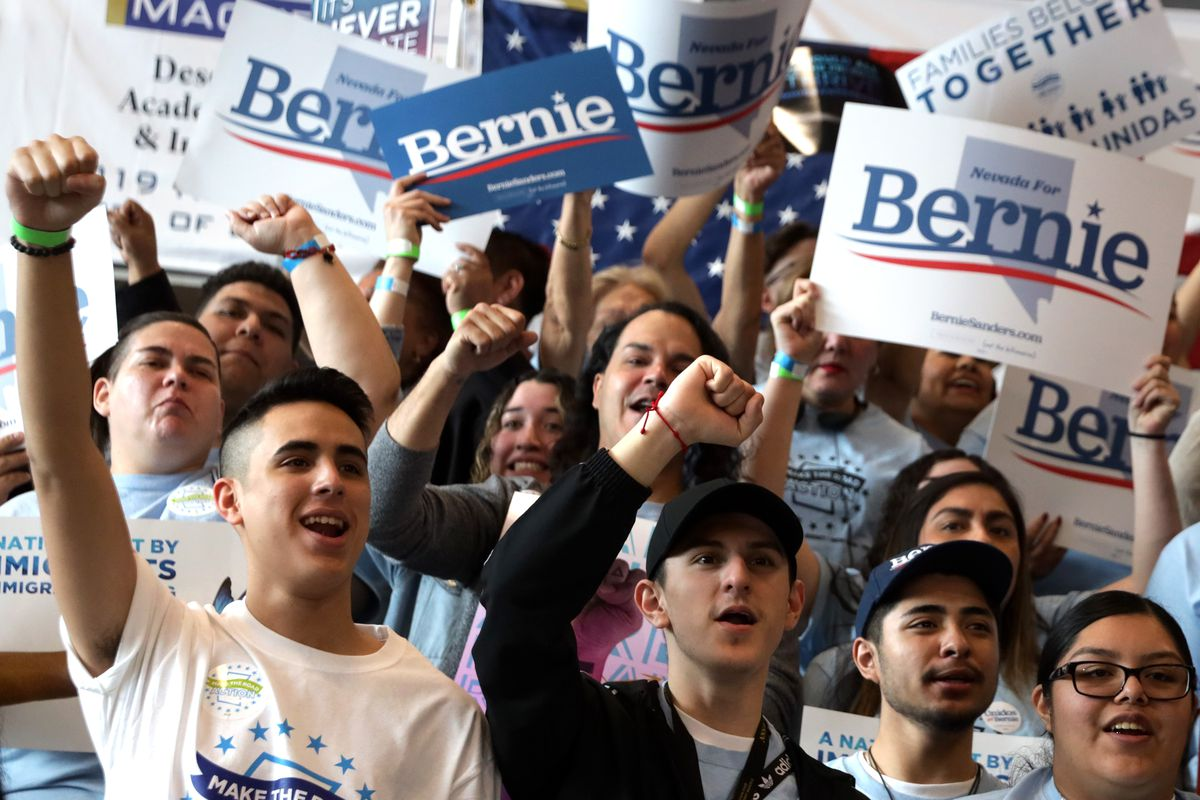 Sanders supporters cheer at a Las Vegas rally ahead of the Nevada caucuses.