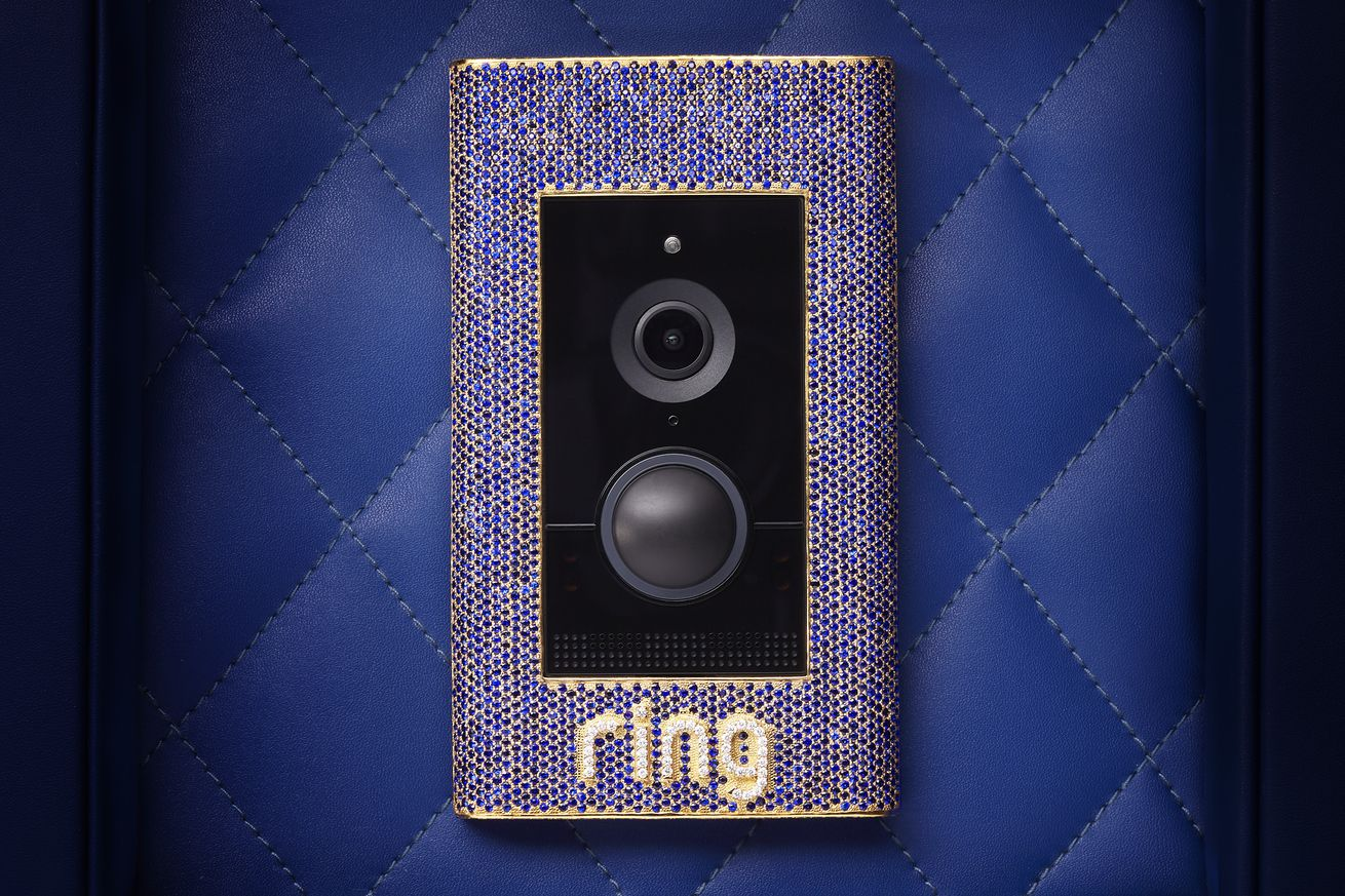 ring s new 100 000 doorbell is encrusted with sapphires diamonds and gold