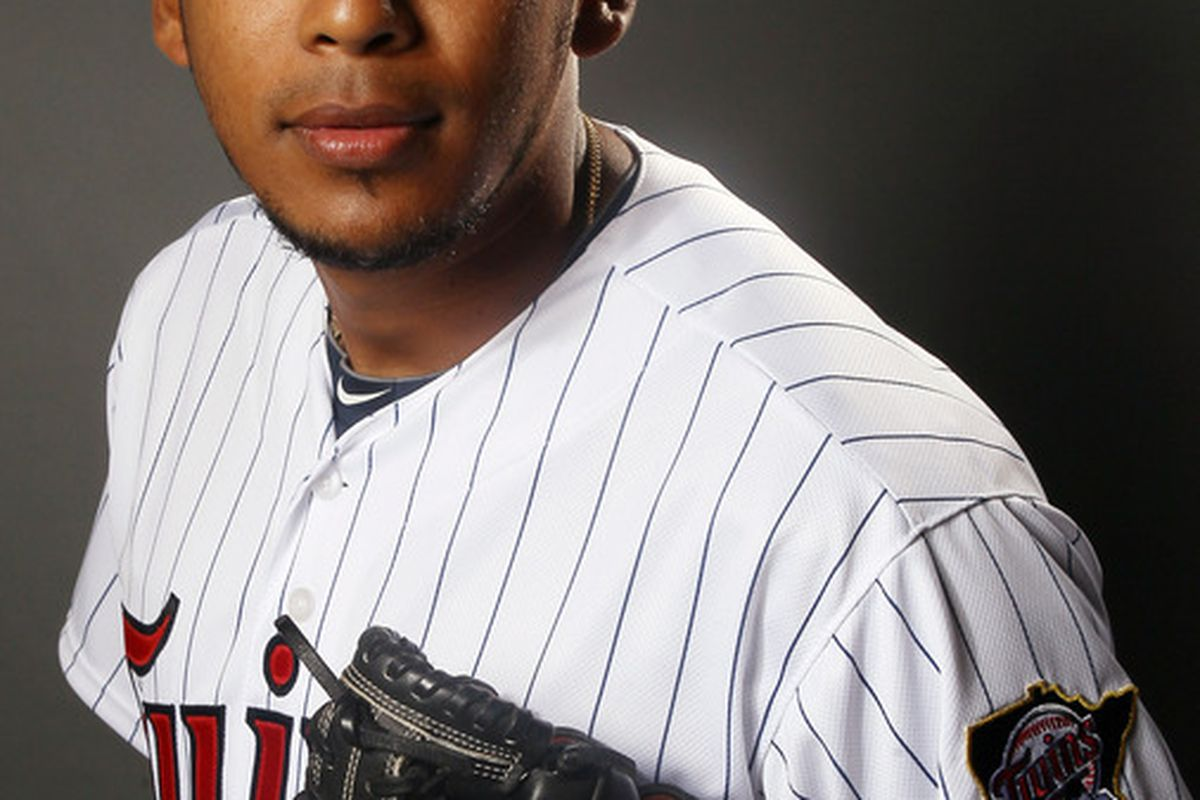 FORT MYERS, FL - FEBRUARY 27:  Esmerling Vasquez #59 of the Minnesota Twins poses for a portrait on February 27, 2012 at Hammond Stadium in Fort Myers, Florida.  (Photo by Elsa/Getty Images)