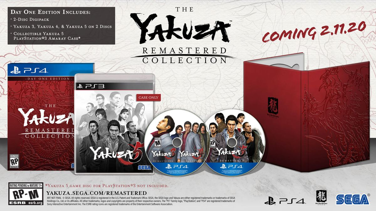 product image of The Yakuza Remastered Collection, featuring two discs, a PS3-style case and deluxe red packaging