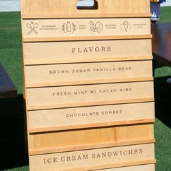 Some of the offerings from Carmela Ice Cream. Note the Rose Pedal ice cream sandwich at the bottom.