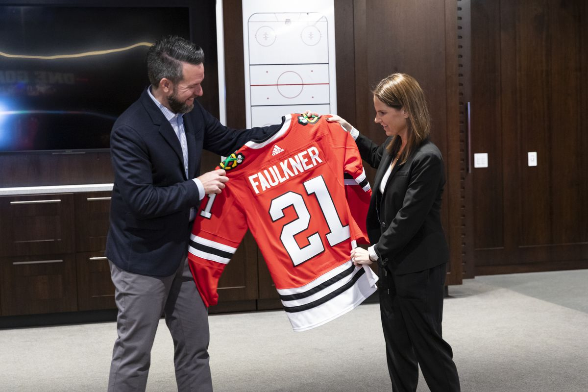 Jaime Faulkner (right) has been hired as the Blackhawks' new president of business operations, while Danny Wirtz (left) moves to CEO.