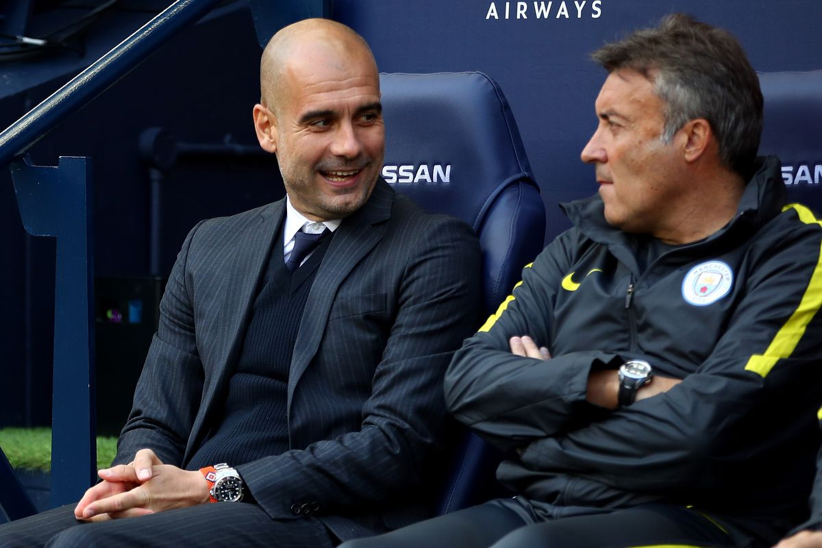 Domenec Torrent (R) with Pep Guardiola