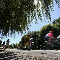 Riders speed through Midway during Stage 6 of the Tour of Utah on Sunday, Aug. 18, 2019.
