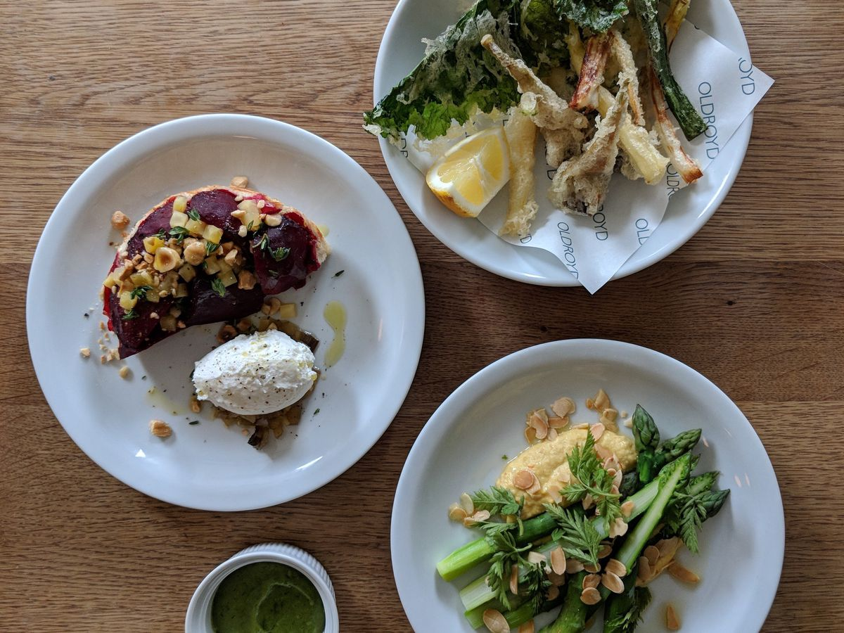 Asparagus, beetroot tarte fine, and tempura vegetables at Oldroyd, one of the best restaurants in Islington