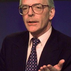 FILE - In this Wednesday, April 30, 1997 file photo Britain's the then Prime Minister John Major gestures at a press conference at the Conservative Party headquarters in London.