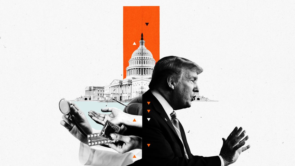 An illustration of Trump and the Capitol and hands outstretched with birth control pills