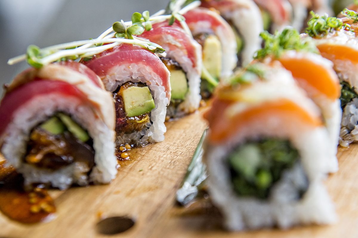 Named after the restaurant, the Misaki Rolltopped with tuna.