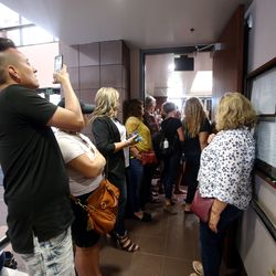"""Utah County residents try to get into the Utah County Commision chambers in Provo on Wednesday, July 15, 2020 in Provo, to voice their opinions on state mandate that students in grades K-12 wear masks in schools. The commission was scheduled to vote on a letter asking Ralph Clegg, executive director of the Utah County Health Department, to give Utah County """"compassionate exemptions"""" to Gov. Gary Herbert's mandate. However, the meeting was cut short after Tanner Ainge, the commission's chairman, made a motion to continue the meeting at a later date, saying it violated several public health directives issued by the state and county. The motion to reschedule passed 2-1, bringing boos from protesters."""