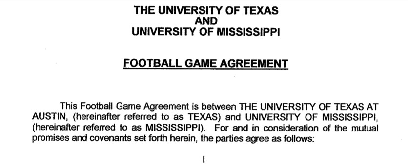 Contract header between the University of Texas and University of Mississippi