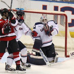 UConn's Tanner Creel (1) makes the chest save.