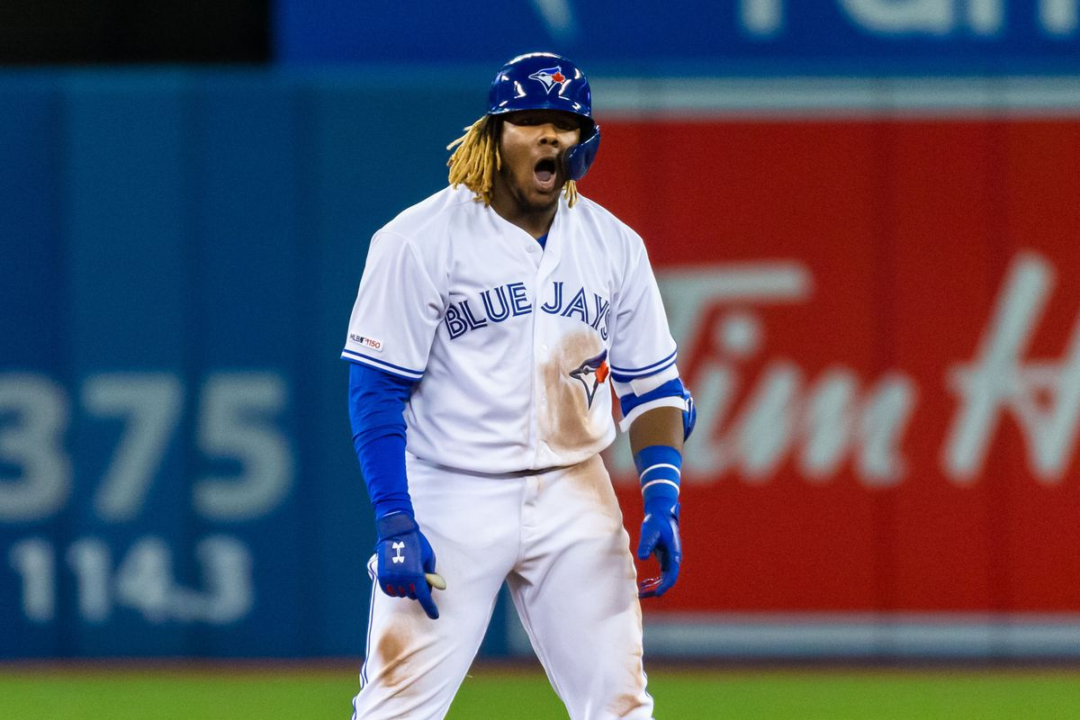 Toronto Blue Jays third baseman Vladimir Guerrero Jr. celebrates hitting a double against the Oakland Athletics during the eighth inning at Rogers Centre.