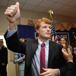 Joseph Kennedy III, son of former U.S. Rep. Joseph P. Kennedy II and grandson of the late Robert F. Kennedy, gives a thumbs up to the crowd during a watch party in Taunton, Mass., Thursday, Sept. 6, 2012. The 31-year-old Kennedy is vying for the House seat being vacated by Democratic U.S. Rep. Barney Frank. Kennedy won the Democratic primary for the Massachusetts Fourth Congressional District Thursday.