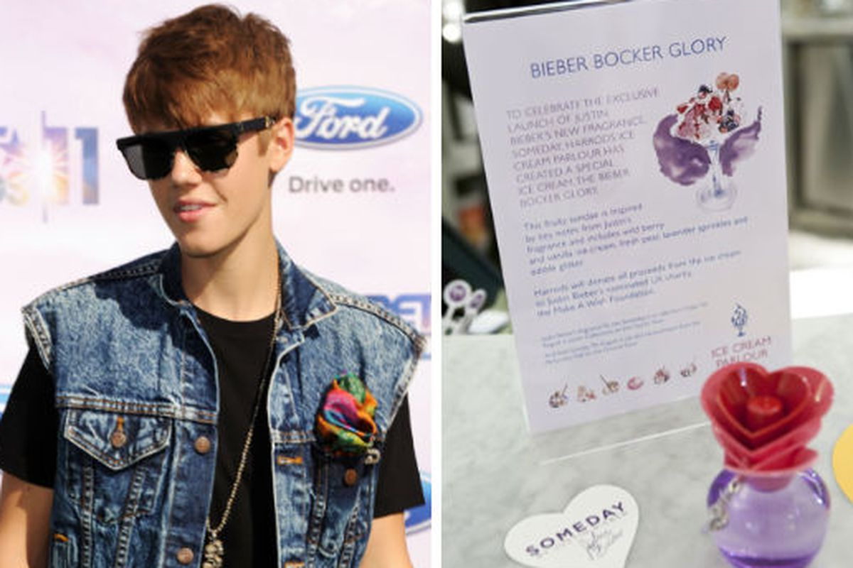 """Justin Bieber image <a href=""""http://gettyimages.com"""">Getty Images</a>, Justin Bieber Someday Sundae image via <a href=""""http://www.wwd.com/fashion-news/fashion-scoops/setting-new-trends-biebers-someday-sundae-inside-polo-5042020?page=2"""">WWD</a>"""