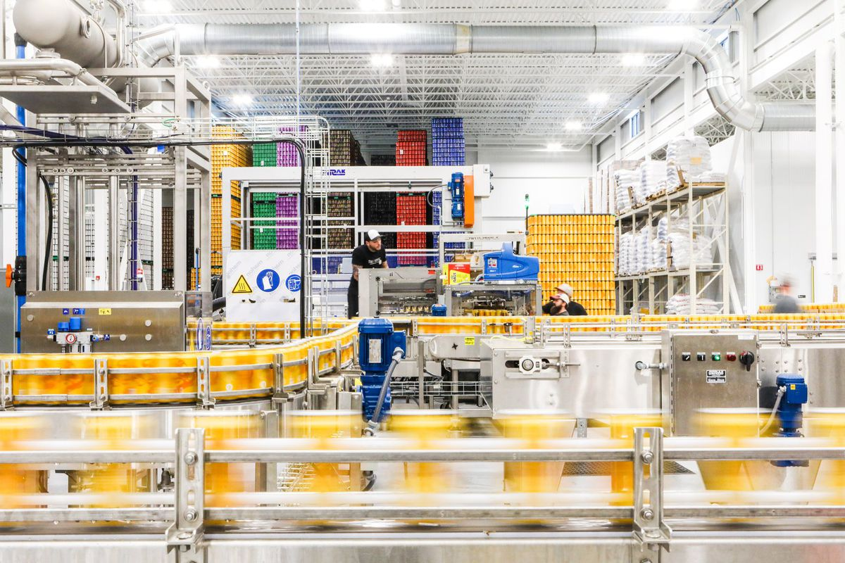 Tree House Brewing's canning line in Charlton, MA