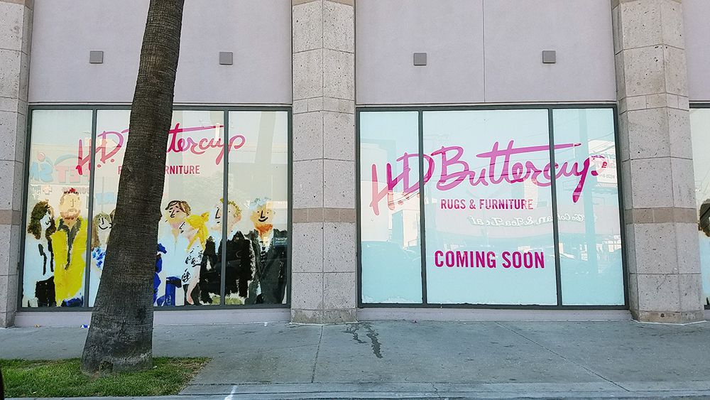 Coming soon window signage for HD Buttercup on La Cienega