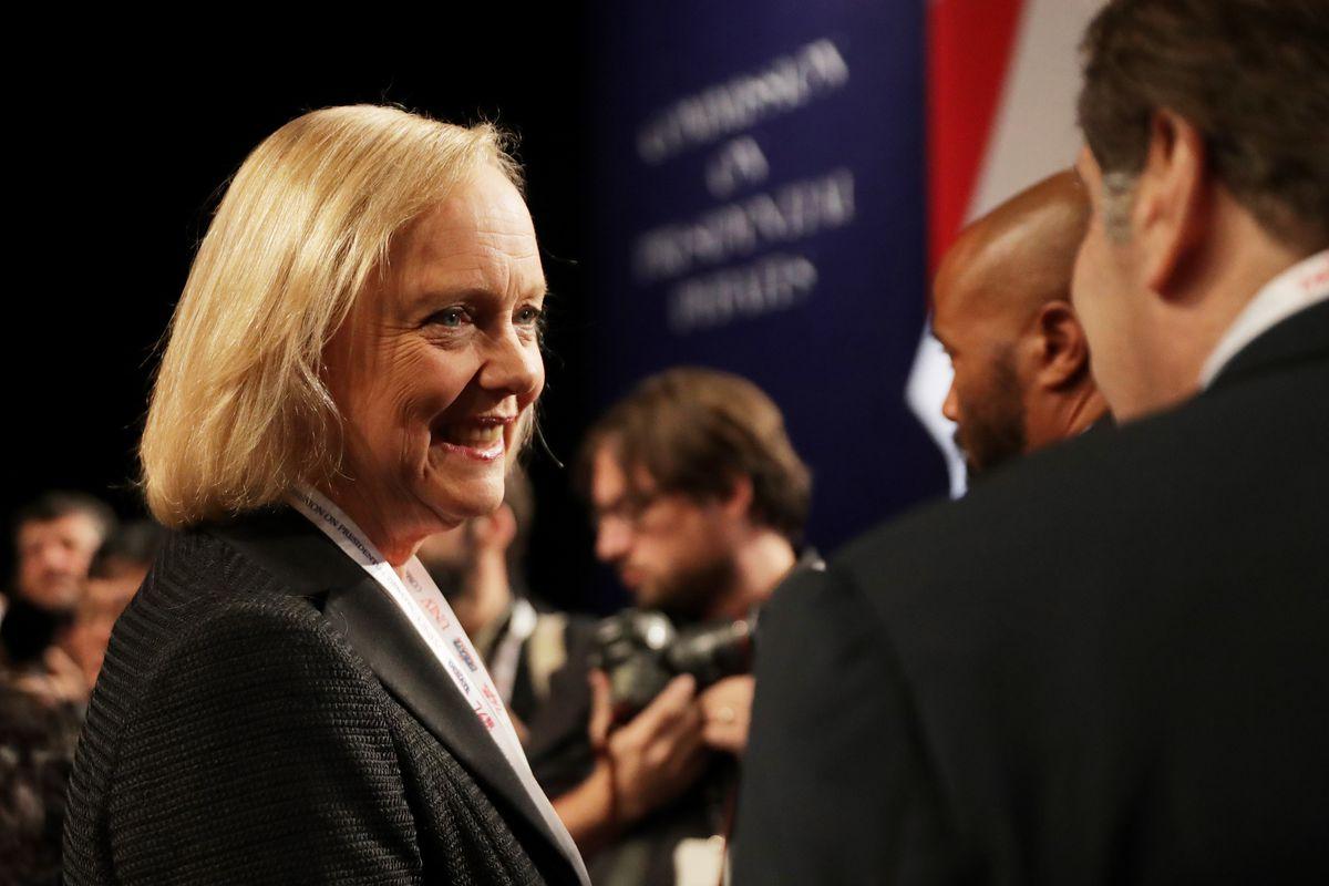 Hewlett-Packard CEO Meg Whitman at a 2016 presidential debate.