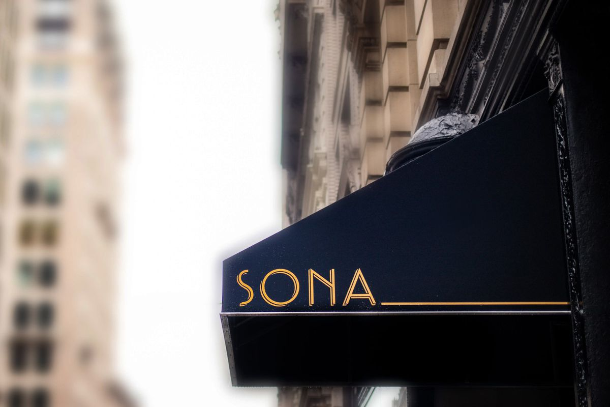 The exterior awning of a restaurant called Sona
