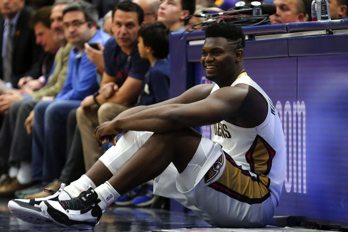New Orleans Pelicans forward Zion Williamson waits to enter the game during the fourth quarter against the Boston Celtics at the Smoothie King Center.