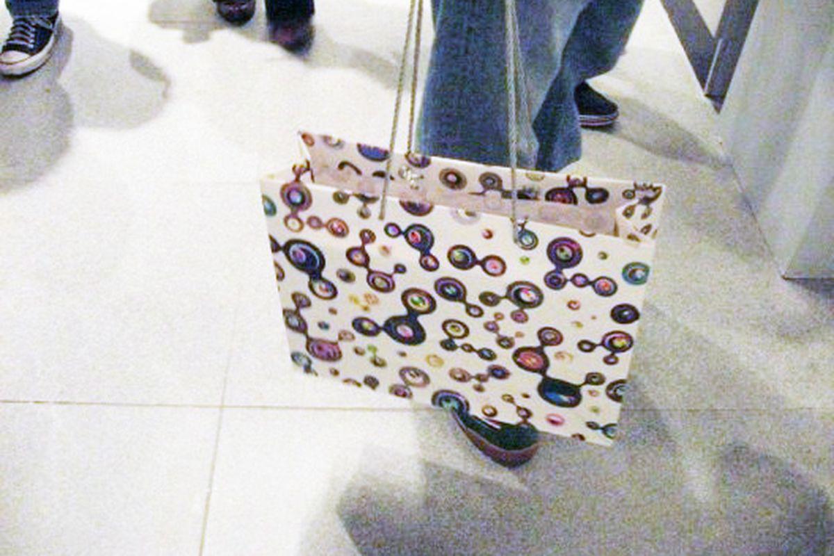 A Murakami shopping bag at last year's Brooklyn Museum exhibit